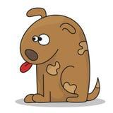 Séance heureuse de chiot de bande dessinée, petit chien mignon Photo stock