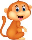 Séance mignonne de bande dessinée de singe Photo libre de droits