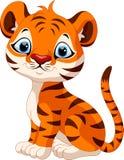Séance mignonne de bande dessinée de tigre de bébé Photographie stock libre de droits