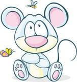 Séance mignonne de souris de vecteur d'isolement Photos stock