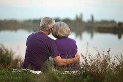 Séance supérieure heureuse de couples Image libre de droits