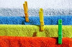 Séchage de quatre essuie-main de coton Images libres de droits