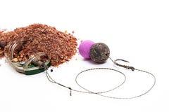 Séchez l'alimentation pour la pêche de carpe Amorce opérationnelle de carpe avec la pêche Photo stock