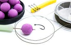 Séchez l'alimentation pour la pêche de carpe Boilies et accessoires de carpe pour la carpe Images stock
