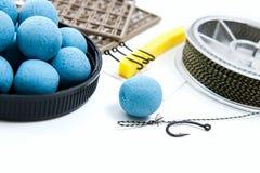Séchez l'alimentation pour la pêche de carpe Boilies et accessoires de carpe pour la carpe Photo stock