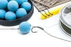 Séchez l'alimentation pour la pêche de carpe Boilies et accessoires de carpe pour la carpe Photo libre de droits