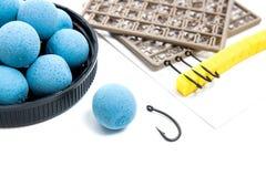 Séchez l'alimentation pour la pêche de carpe Boilies et accessoires de carpe pour la carpe Photographie stock