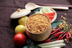 Séchez la nouille instantanée - les ramen et les légumes asiatiques pour la soupe Photographie stock libre de droits