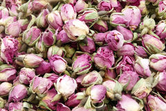 Séchez les bourgeons roses, fond sain de tisane Photo stock