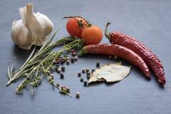 Séchez les poivrons de piment, les tomates, l'ail et l'assaisonnement d'un rouge ardent Photo libre de droits