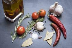 Séchez les poivrons de piment, les tomates, l'ail et l'assaisonnement d'un rouge ardent Image libre de droits