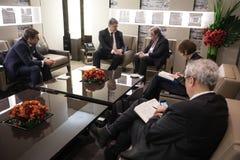 Sécrétaire général Antonio Guterres et Petro Poroshenko de l'ONU Photos libres de droits