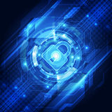 Sécurité abstraite de technologie sur le fond de réseau global, illustration de vecteur Images stock
