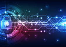 Sécurité abstraite de technologie sur le fond de réseau global, illustration de vecteur Images libres de droits