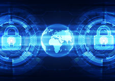 Sécurité abstraite de technologie sur le fond de réseau global, illustration de vecteur Photo libre de droits