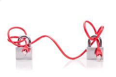 Sécurité conceptuelle de réseau informatique avec de bout en bout le padlo de câble Photographie stock