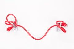 Sécurité conceptuelle de réseau informatique avec de bout en bout le padlo de câble Photo stock