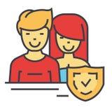 Sécurité d'homme et de femme, bouclier, concept de garantie Photos libres de droits