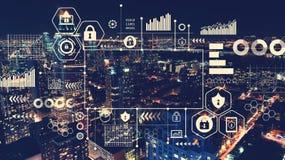 Sécurité de Cyber avec la vue aérienne de Manhattan, NY illustration stock