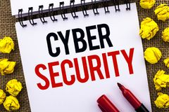 Sécurité de Cyber des textes d'écriture Le concept signifiant la prévention en ligne des virus d'attaques chiffrent l'information image libre de droits