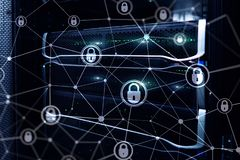 Sécurité de Cyber, intimité de l'information, concept de protection des données sur le fond moderne de pièce de serveur Internet  images libres de droits