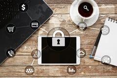 Sécurité de Cyber, protection des données, sécurité de l'information Concept de technologie d'Internet Photos libres de droits
