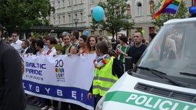 Sécurité de défilé gai de police banque de vidéos