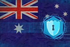 Sécurité de réseau d'Australie Concept de garantie d'Internet illustration stock
