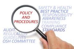 Sécurité et santé sur le lieu de travail conceptuel, foyer sur la politique et procédures photographie stock libre de droits