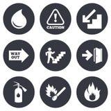 Sécurité incendie, icônes de secours Signe d'extincteur illustration de vecteur