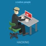 Sécurité isométrique plate d'attaque de pirate informatique du vecteur 3d entaillant le mot de passe Image stock