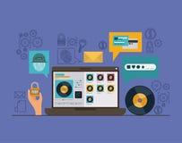 Sécurité mobile avec l'ordinateur portable et apps sûrs à l'arrière-plan violet de couleur illustration stock