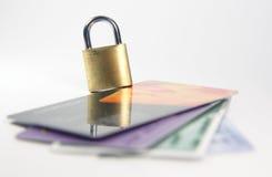 Sécurité par la carte de crédit photographie stock