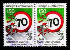 Sécurité routière - observez la limitation de vitesse, serie, vers 1987 image libre de droits