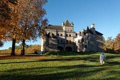 Sédières Castle. The Sédières Castle is a medieval castle from the 16 century located in Corrèze in France Stock Photo