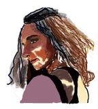 Séduction sensuelle de femme avec les yeux et les cheveux bruns illustration libre de droits