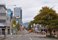 Séisme de Christchurch - un aperçu d'enfer Photo libre de droits