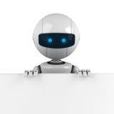 Séjour blanc de robot avec le drapeau Photographie stock libre de droits
