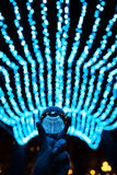 Séjour de boule de cristal dans les lumières bleues de guirlande Photo stock