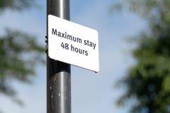 Séjour maximum - 48 heures de signe Photographie stock libre de droits