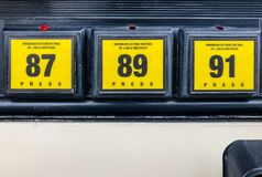 Sélecteur d'estimation d'octane de pompe à gaz Photos stock