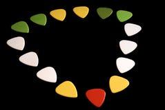 Sélection colorée de guitare sur le noir photo libre de droits