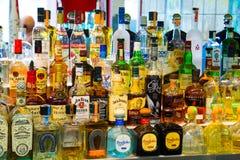 Sélection d'alcool de barre de tequila Photo stock