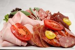 Sélection de jambon et de salami Images stock