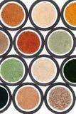 Sélection de poudre de nourriture biologique Photographie stock libre de droits