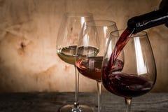 Sélection de vin pour la dégustation Image libre de droits