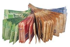 Sélection des billets de banque sud-africains utilisés Photographie stock libre de droits
