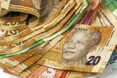 Sélection des billets de banque sud-africains utilisés Image stock