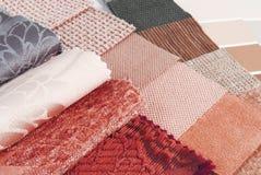 Sélection des couleurs de tapisserie et de rideau de tapisserie d'ameublement image libre de droits
