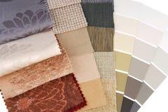Sélection des couleurs de tapisserie et de rideau de tapisserie d'ameublement Photo libre de droits